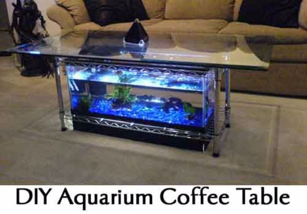 DIY Aquarium Ideas - Aquarium Coffee Table - Cool and Easy Decorations for Tank Aquariums, Mason Jar, Wall and Stand Projects for Fish - Creative Background Ideas - Fun Tutorials for Kids to Make With Plants and Decor - Best Home Decor and Crafts by DIY JOY