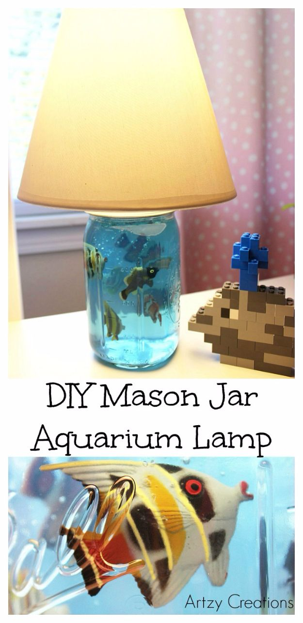 DIY Aquarium Ideas - DIY Mason Jar Aquarium Lamp - Cool and Easy Decorations for Tank Aquariums, Mason Jar, Wall and Stand Projects for Fish - Creative Background Ideas - Fun Tutorials for Kids to Make With Plants and Decor - Best Home Decor and Crafts by DIY JOY