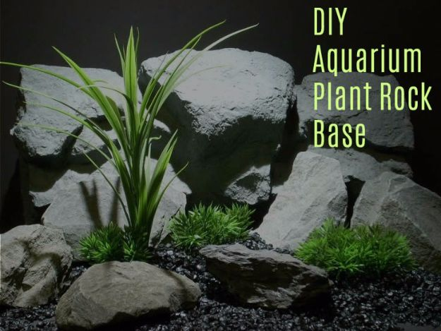 DIY Aquarium Ideas - Aquarium Plant Rock Base - Cool and Easy Decorations for Tank Aquariums, Mason Jar, Wall and Stand Projects for Fish - Creative Background Ideas - Fun Tutorials for Kids to Make With Plants and Decor - Best Home Decor and Crafts by DIY JOY