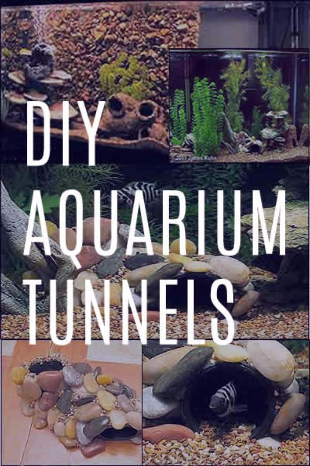 DIY Aquarium Ideas - DIY Aquarium Tunnels - Cool and Easy Decorations for Tank Aquariums, Mason Jar, Wall and Stand Projects for Fish - Creative Background Ideas - Fun Tutorials for Kids to Make With Plants and Decor - Best Home Decor and Crafts by DIY JOY