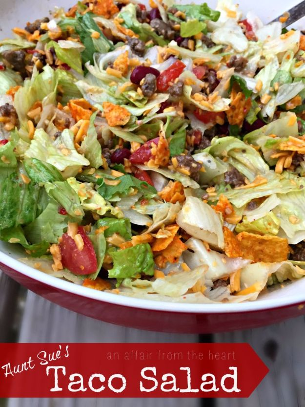 DIY Recipes Made With Doritos - Aunt Sue's Taco Salad - Best Dorito Recipes for Casserole, Taco Salad, Chicken Dinners, Beef Casseroles, Nachos, Easy Cool Ranch Meals and Ideas for Dips, Snacks and Kids Recipe Tutorials - Quick Lunch Ideas and Recipes for Parties http://diyjoy.com/recipe-ideas-doritos