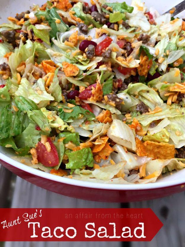 DIY Recipes Made With Doritos - Aunt Sue's Taco Salad - Best Dorito Recipes for Casserole, Taco Salad, Chicken Dinners, Beef Casseroles, Nachos, Easy Cool Ranch Meals and Ideas for Dips, Snacks and Kids Recipe Tutorials - Quick Lunch Ideas and Recipes for Parties http://diyjoy.com/recipe-ideas-doritos