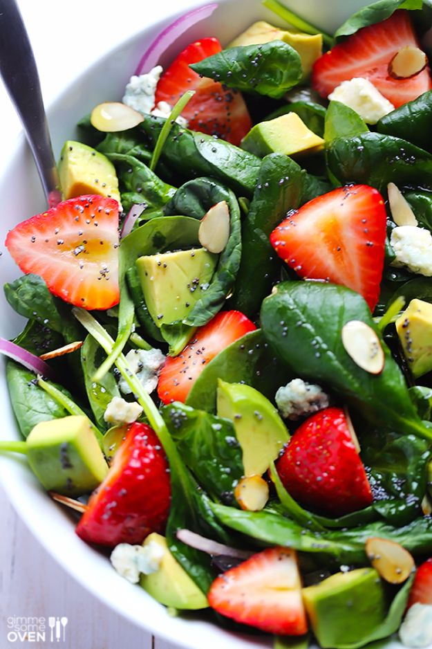 Best Spinach Recipes - Avocado Strawberry Spinach Salad With Poppyseed Dressing - Easy, Healthy Lowfat Recipe Ideas for Dinner, Salads, Lunches, Sides, Smoothies and Even Dessert - Qucik and Creative Ideas for Vegetables - Cheesy, Creamed, Country Style Favorites for Family and For Kids http://diyjoy.com/best-spinach-recipes