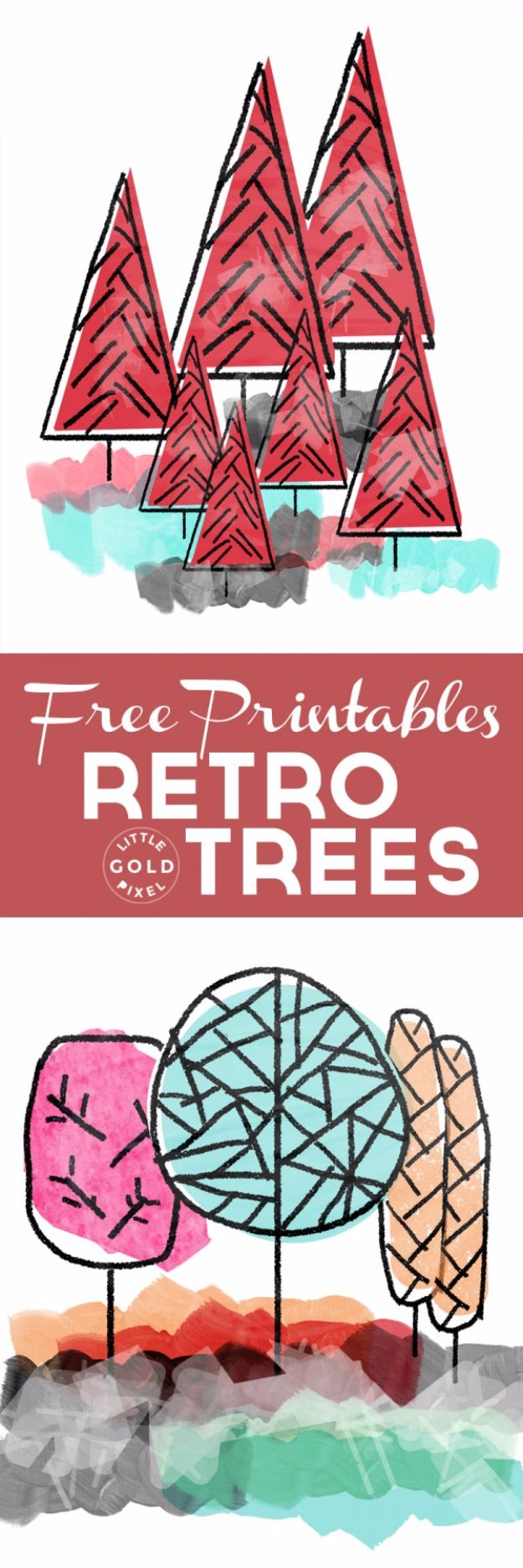 Best Free Printables For Your Walls - Awesome Retro Trees Free Printables - Free Prints for Wall Art and Picture to Print for Home and Bedroom Decor - Crafts to Make and Sell With Ideas for the Home, Organization #diy
