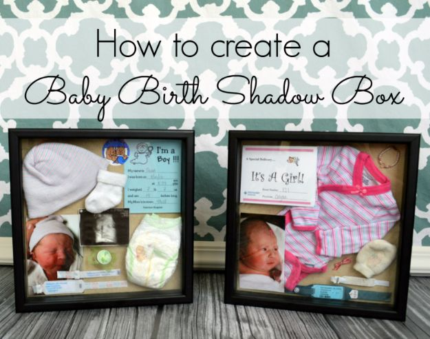 DIY Ideas for Newborn - Baby Birth Shadow Box - Do It Yourself Projects for the New Baby Boy or Girl - Nursery and Room Decor, Gear and Products, Safety Ideas and Other Practical Items Make Great DIY Baby Gifts