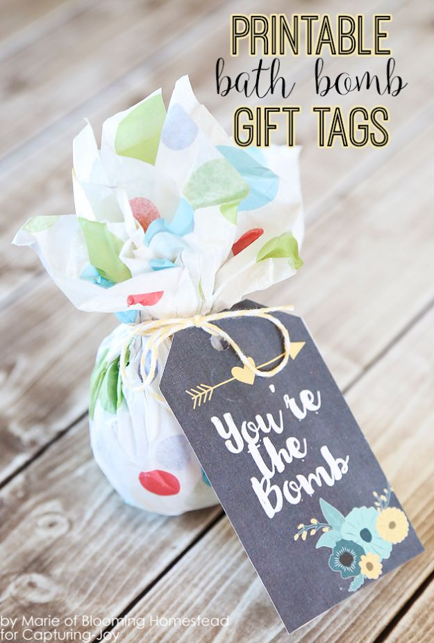 Homemade Gift Cards and Tags - Bath Bomb Gift Tags - Easy and Cheap Ideas for Creative Handmade Birthday, Christmas, Mothers Day and Father Day Cards - Cute Holiday Gift Tags, Dollar Store Crafts, Homemade DIY Gifts and Gift Card Holders You Can Make at Home - Fun Crafts for Adults, Kids and Teens http://diyjoy.com/homemade-gift-cards-tags