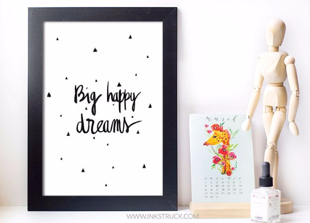 Best Free Printables For Your Walls - Big Happy Dreams Free Printable - Free Prints for Wall Art and Picture to Print for Home and Bedroom Decor - Crafts to Make and Sell With Ideas for the Home, Organization #diy