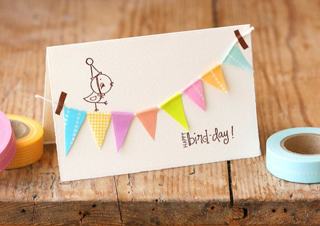 DIY Birthday Cards - Birthday Bunting Card - Easy and Cheap Handmade Birthday Cards To Make At Home - Cute Card Projects With Step by Step Tutorials are Perfect for Birthdays for Mom, Dad, Kids and Adults - Pop Up and Folded Cards, Creative Gift Card Holders and Fun Ideas With Cake #birthdayideas #birthdaycards
