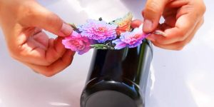 He Paints A Jar, Glues A Floral Printout On It, But What He Does Next Is Brilliant (Watch!)