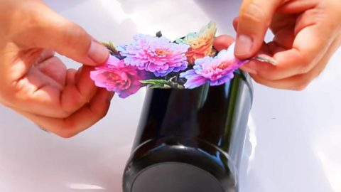 He Paints A Jar, Glues A Floral Printout On It, But What He Does Next Is Brilliant (Watch!) | DIY Joy Projects and Crafts Ideas