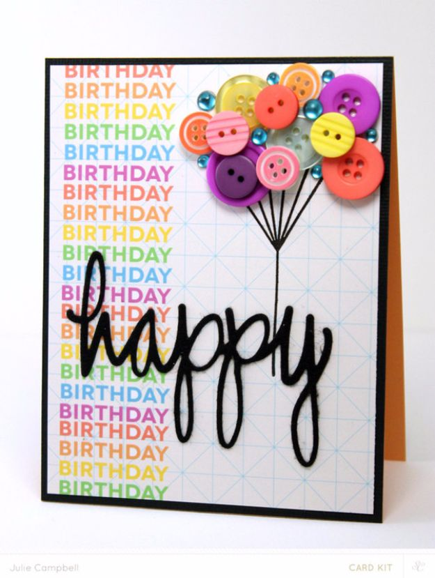 DIY Birthday Cards - Buttons Birthday Balloon Card - Easy and Cheap Handmade Birthday Cards To Make At Home - Cute Card Projects With Step by Step Tutorials are Perfect for Birthdays for Mom, Dad, Kids and Adults - Pop Up and Folded Cards, Creative Gift Card Holders and Fun Ideas With Cake http://diyjoy.com/diy-birthday-cards