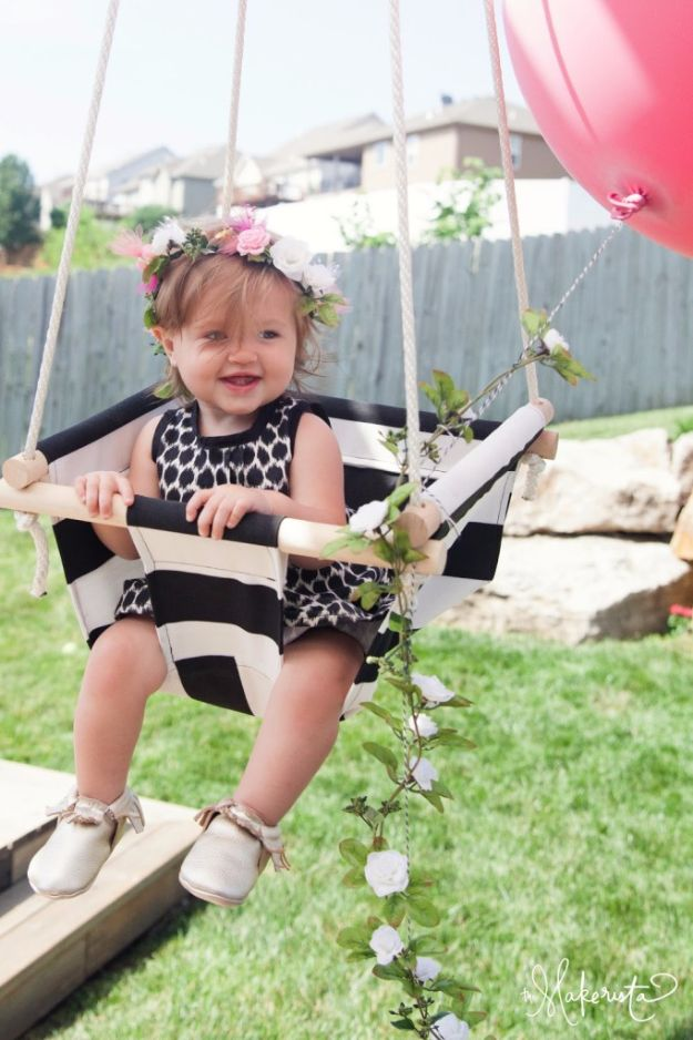 DIY Swings - Canvas Swing - Best Do It Yourself Swing Projects and Tutorials for Tire, Rocking, Hanging, Double Seat, Porch, Patio and Yard. Easy Ideas for Kids and Adults - Make The Best Backyard Ever This Summer With These Awesome Seating and Play Ideas for Swings - Creative Home Decor and Crafts by DIY JOY