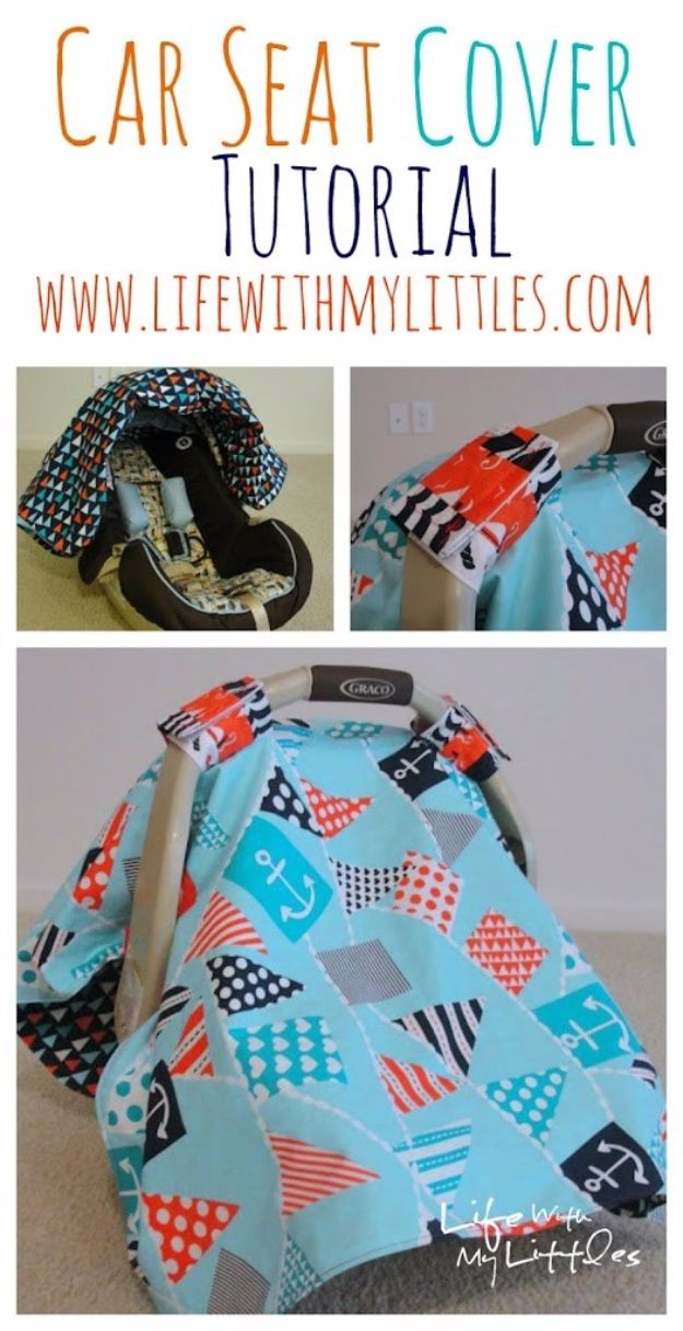 DIY Ideas for Newborn - Car Seat Cover - Do It Yourself Projects for the New Baby Boy or Girl - Nursery and Room Decor, Gear and Products, Safety Ideas and Other Practical Items Make Great DIY Baby Gifts