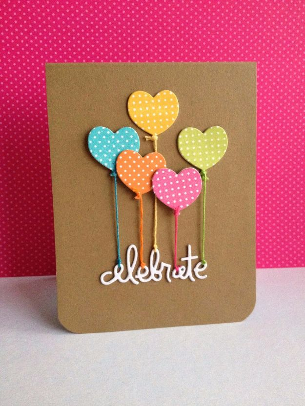 DIY Birthday Cards - Celebrate Birthday Card - Easy and Cheap Handmade Birthday Cards To Make At Home - Cute Card Projects With Step by Step Tutorials are Perfect for Birthdays for Mom, Dad, Kids and Adults - Pop Up and Folded Cards, Creative Gift Card Holders and Fun Ideas With Cake http://diyjoy.com/diy-birthday-cards