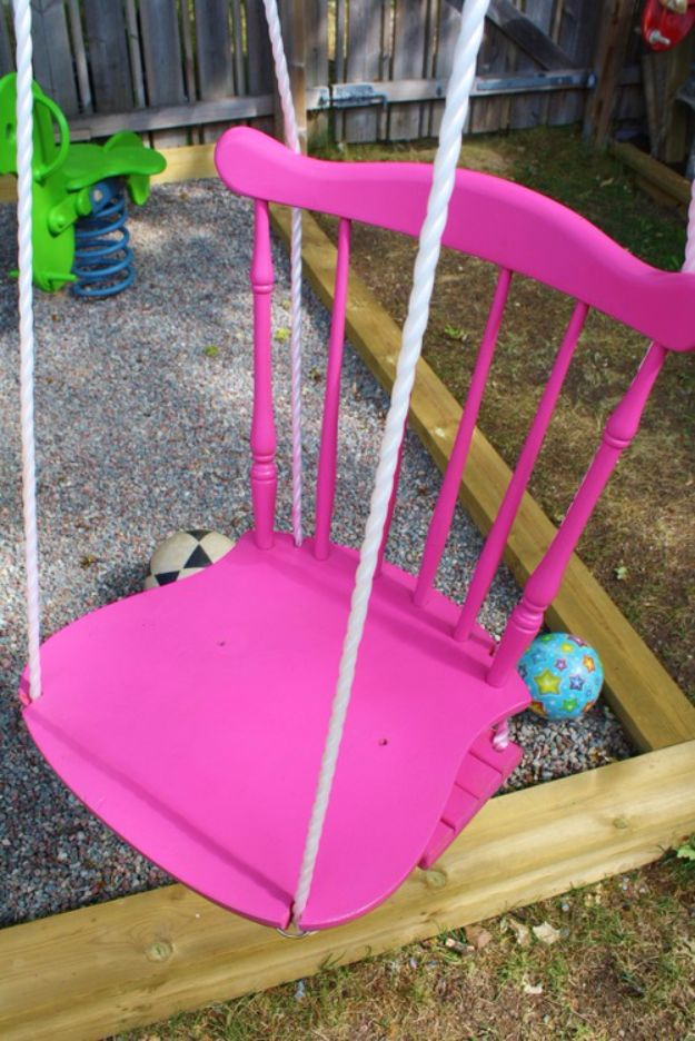 DIY Swings - Chair Swing - Best Do It Yourself Swing Projects and Tutorials for Tire, Rocking, Hanging, Double Seat, Porch, Patio and Yard. Easy Ideas for Kids and Adults - Make The Best Backyard Ever This Summer With These Awesome Seating and Play Ideas for Swings - Creative Home Decor and Crafts by DIY JOY