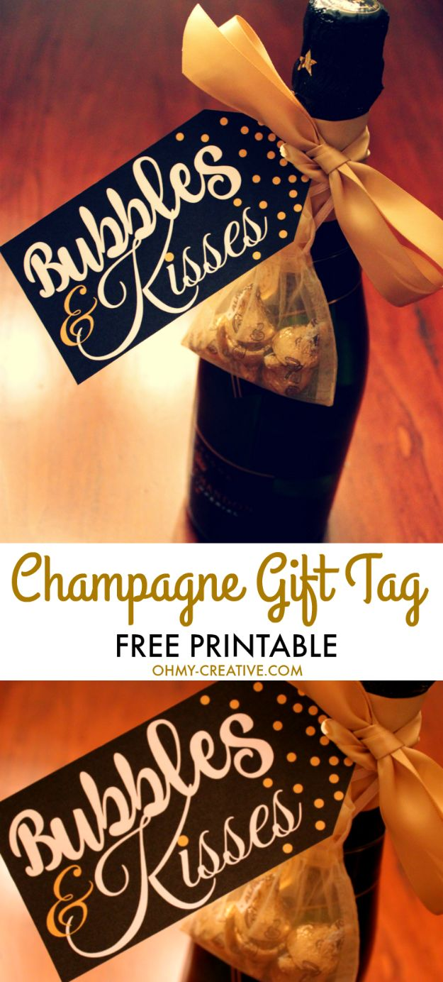 Homemade Gift Cards and Tags - Champagne Gift Tag - Easy and Cheap Ideas for Creative Handmade Birthday, Christmas, Mothers Day and Father Day Cards - Cute Holiday Gift Tags, Dollar Store Crafts, Homemade DIY Gifts and Gift Card Holders You Can Make at Home - Fun Crafts for Adults, Kids and Teens #diygifts #gifttags