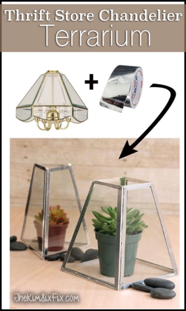 DIY Terrarium Ideas - Chandelier To Terrarium - Cool Terrariums and Crafts With Mason Jars, Succulents, Wood, Geometric Designs and Reptile, Acquarium - Easy DIY Terrariums for Adults and Kids To Make at Home