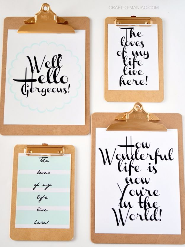 Best Free Printables For Your Walls - Clipboard Wall Art With Free Printables - Free Prints for Wall Art and Picture to Print for Home and Bedroom Decor - Crafts to Make and Sell With Ideas for the Home, Organization #diy