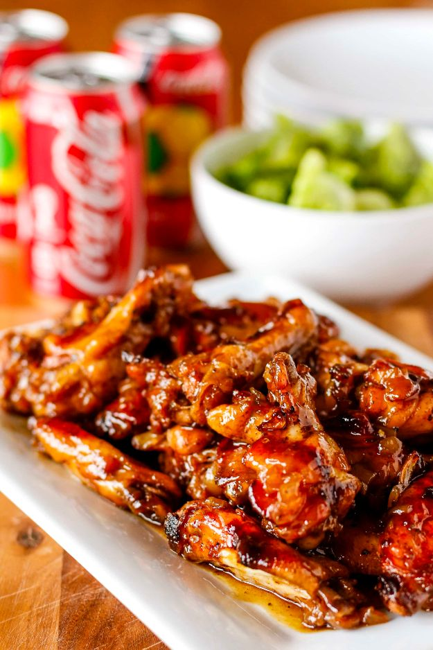 Best Coca Cola Recipes - Coca Cola Baked Chicken Wings - Make Awesome Coke Chicken, Coca Cola Cake, Meatballs, Sodas, Drinks, Sweets, Dinners, Meat, Slow Cooker and Recipe Ideas #cocacola #recipes #desserts