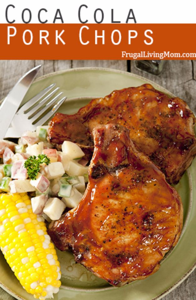 Best Coca Cola Recipes - Coca Cola Pork Chops - Make Awesome Coke Chicken, Coca Cola Cake, Meatballs, Sodas, Drinks, Sweets, Dinners, Meat, Slow Cooker and Recipe Ideas With Cake Mixes - Fun Food Projects For Families and Parties With Step By Step Tutorials http://diyjoy.com/coca-cola-recipes