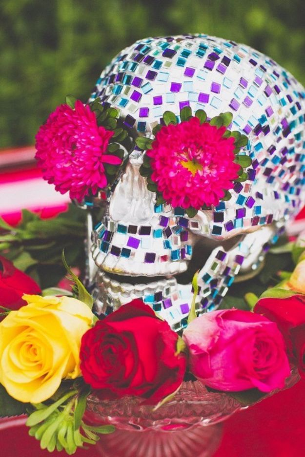 DIY Wedding Centerpieces - Colorful DIY Mosaic Skull Wedding Centerpiece - Do It Yourself Ideas for Brides and Best Centerpiece Ideas for Weddings - Step by Step Tutorials for Making Mason Jars, Rustic Crafts, Flowers, Modern Decor, Vintage and Cheap Ideas for Couples on A Budget Outdoor and Indoor Weddings http://diyjoy.com/diy-wedding-centerpieces
