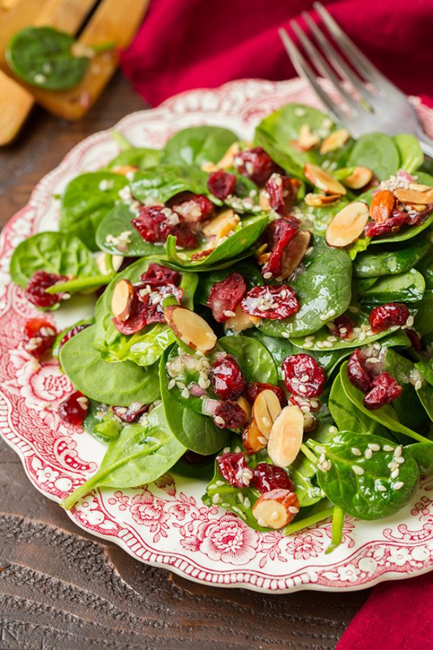 Best Spinach Recipes - Cranberry Almond Spinach Salad - Easy, Healthy Lowfat Recipe Ideas for Dinner, Salads, Lunches, Sides, Smoothies and Even Dessert - Qucik and Creative Ideas for Vegetables - Cheesy, Creamed, Country Style Favorites for Family and For Kids http://diyjoy.com/best-spinach-recipes