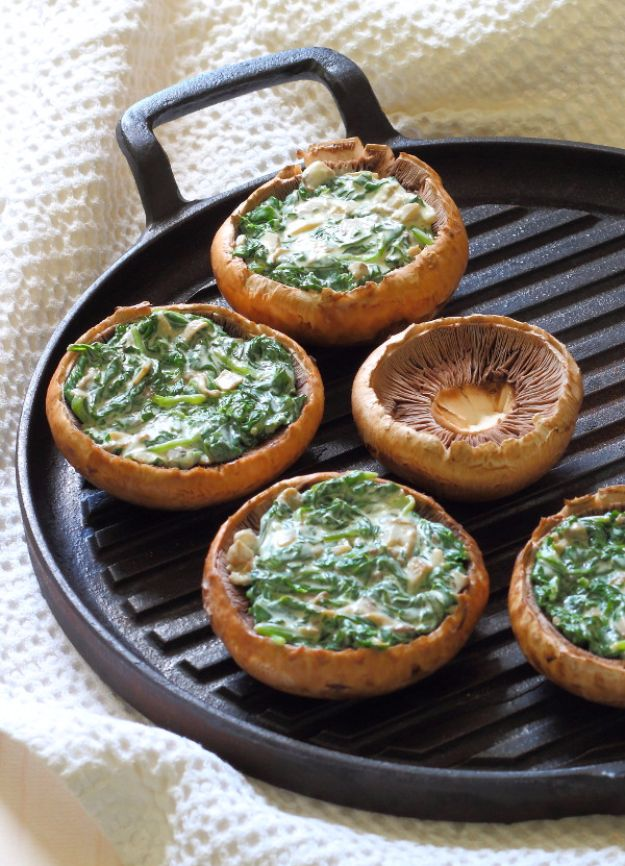 Best Spinach Recipes - Creamy Spinach Stuffed Mushrooms - Easy, Healthy Lowfat Recipe Ideas for Dinner, Salads, Lunches, Sides, Smoothies and Even Dessert - Qucik and Creative Ideas for Vegetables - Cheesy, Creamed, Country Style Favorites for Family and For Kids http://diyjoy.com/best-spinach-recipes
