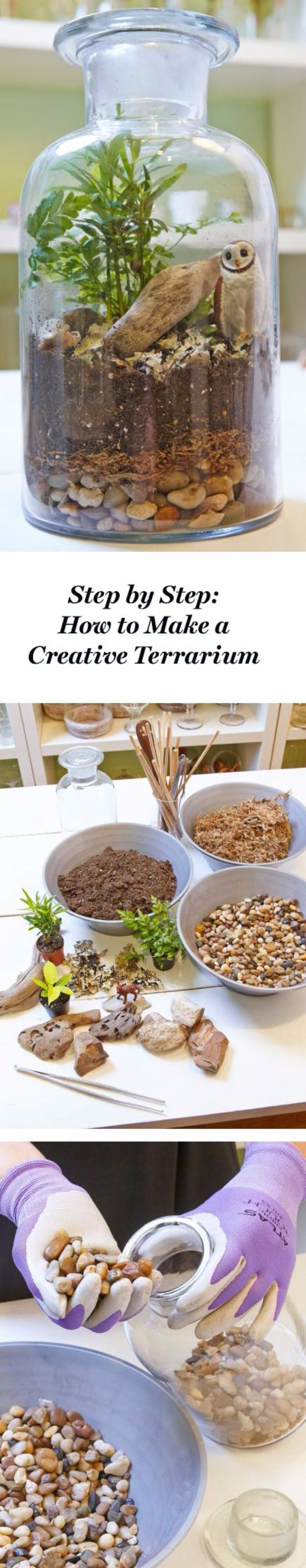 DIY Terrarium Ideas - Creative Terrarium - Cool Terrariums and Crafts With Mason Jars, Succulents, Wood, Geometric Designs and Reptile, Acquarium - Easy DIY Terrariums for Adults and Kids To Make at Home