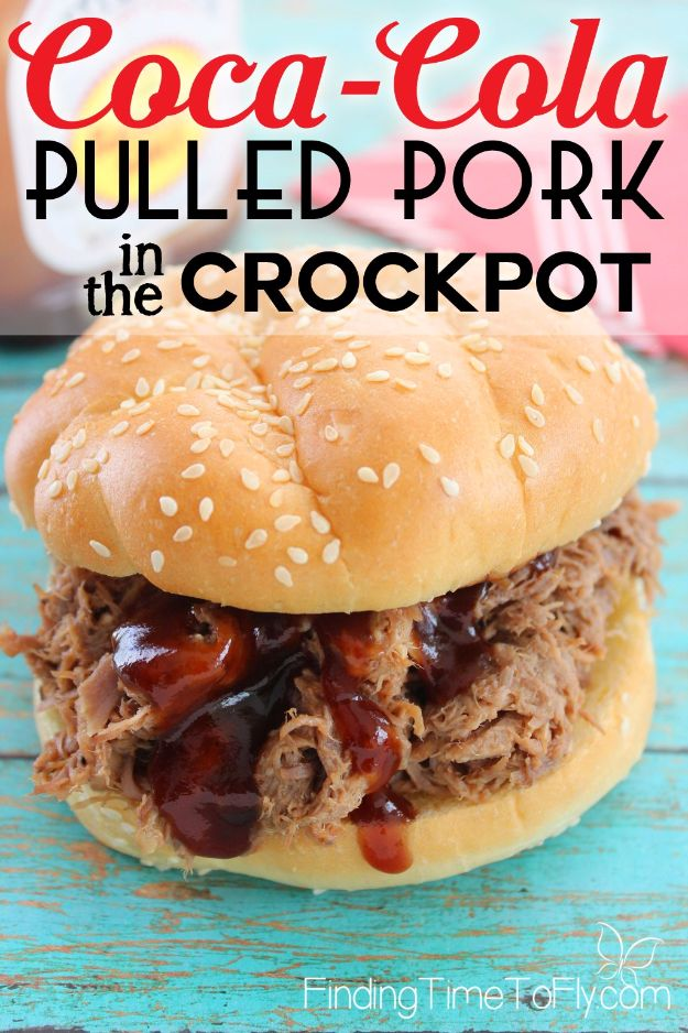 Best Coca Cola Recipes - Crockpot Coca-Cola Pulled Pork - Make Awesome Coke Chicken, Coca Cola Cake, Meatballs, Sodas, Drinks, Sweets, Dinners, Meat, Slow Cooker and Recipe Ideas #cocacola #recipes #desserts