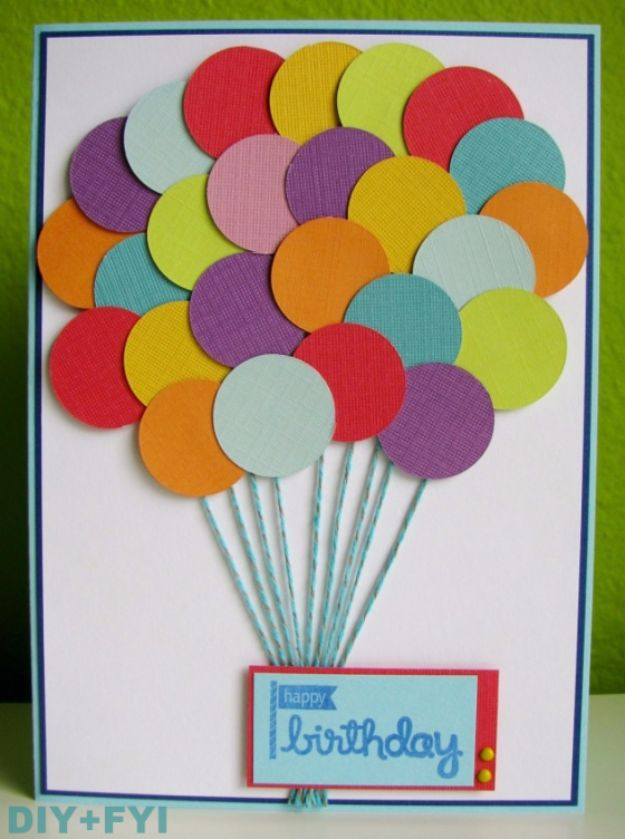 30 creative ideas for handmade birthday cards diy birthday cards cute balloons birthday card easy and cheap handmade birthday cards to bookmarktalkfo Images