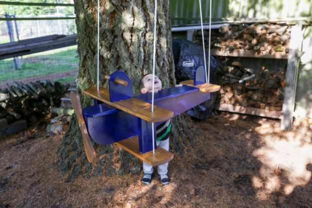 DIY Swings - DIY Airplane Swing - Best Do It Yourself Swing Projects and Tutorials for Tire, Rocking, Hanging, Double Seat, Porch, Patio and Yard. Easy Ideas for Kids and Adults - Make The Best Backyard Ever This Summer With These Awesome Seating and Play Ideas for Swings - Creative Home Decor and Crafts by DIY JOY