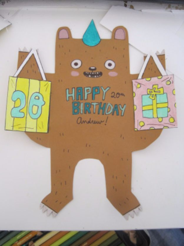 DIY Birthday Cards - DIY Birthday Bear Card - Easy and Cheap Handmade Birthday Cards To Make At Home - Cute Card Projects With Step by Step Tutorials are Perfect for Birthdays for Mom, Dad, Kids and Adults - Pop Up and Folded Cards, Creative Gift Card Holders and Fun Ideas With Cake http://diyjoy.com/diy-birthday-cards