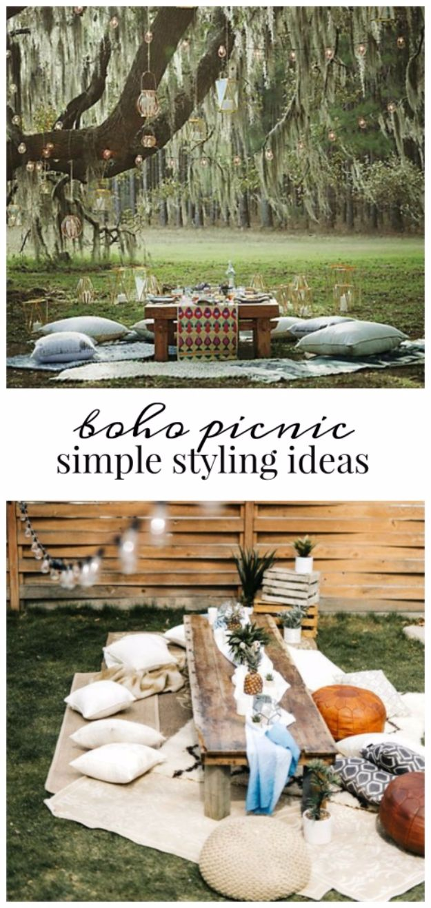 DIY Picnic Ideas - DIY Boho Style Picnic - Cool Recipes and Tips for Picnics and Meals Outdoors - Recipes, Easy Sandwich Wraps, Blankets, Baskets and Carriers to Make for Fun Family Outings and Romantic Date Ideas - Mason Jar Drinks, Snack Holders, Utensil Caddy and Picnic Hacks