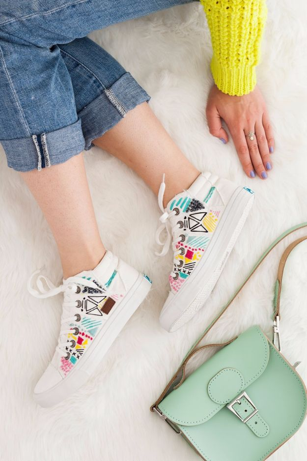 Free Embroidery Patterns - DIY Embroidered Sneakers - Best Embroidery Projects and Step by Step DIY Tutorials for Making Home Decor, Wall Art, Pillows and Creative Handmade Sewing Gifts embroidery gifts diy ideas