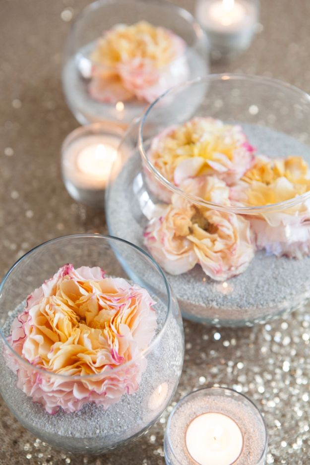 Easy Wedding Centerpieces To Make At Home- DIY Flowers And Sand Centerpiece - Simple Flower Centerpiece - Cheap Wedding Table Decor
