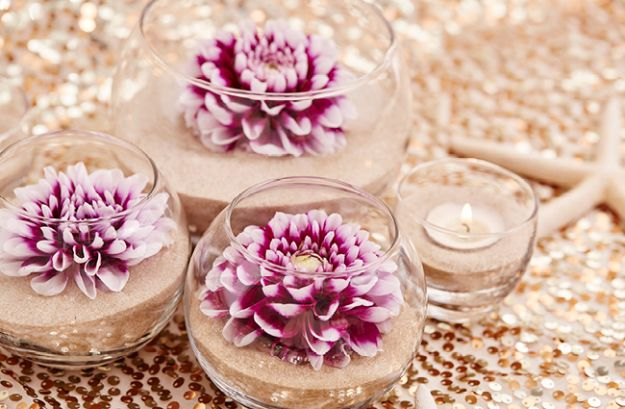 DIY Wedding Centerpieces - DIY Flower And Sand Wedding Centerpiece - Do It Yourself Ideas for Brides and Best Centerpiece Ideas for Weddings - Step by Step Tutorials for Making Mason Jars, Rustic Crafts, Flowers, Modern Decor, Vintage and Cheap Ideas for Couples on A Budget Outdoor and Indoor Weddings http://diyjoy.com/diy-wedding-centerpieces