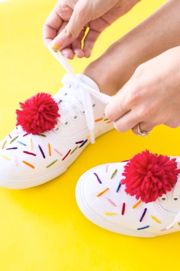 Free Embroidery Patterns - DIY Ice Cream Sneakers - Best Embroidery Projects and Step by Step DIY Tutorials for Making Home Decor, Wall Art, Pillows and Creative Handmade Sewing Gifts embroidery gifts diy ideas