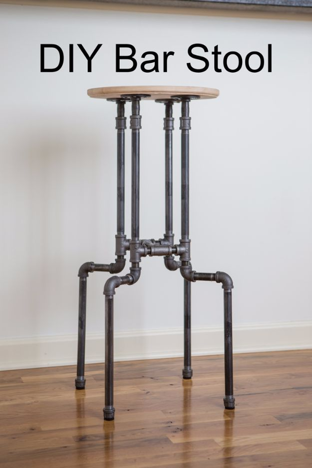 diy barstools - DIY Industrial Bar Stool - Easy and Cheap Ideas for Seating and Creative Home Decor - Do It Yourself Bar Stools for Modern, Rustic, Farmhouse, Shabby Chic, Industrial and Simple Classic Decor #barstools #diy