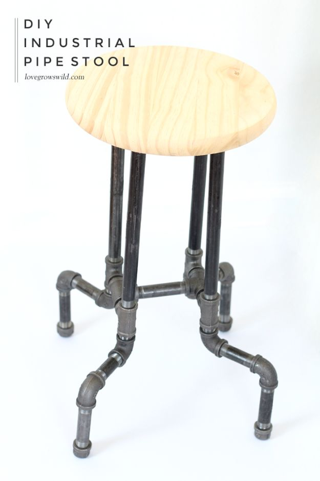 diy barstools - DIY Industrial Pipe Stools - Easy and Cheap Ideas for Seating and Creative Home Decor - Do It Yourself Bar Stools for Modern, Rustic, Farmhouse, Shabby Chic, Industrial and Simple Classic Decor #barstools #diy