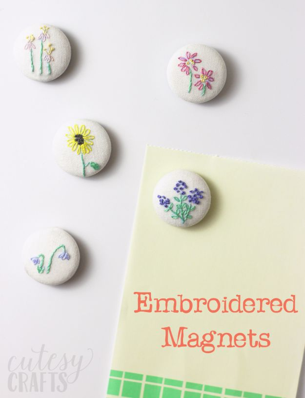 Free Embroidery Patterns - DIY Magnets With Hand Embroidery - Best Embroidery Projects and Step by Step DIY Tutorials for Making Home Decor, Wall Art, Pillows and Creative Handmade Sewing Gifts embroidery gifts diy ideas