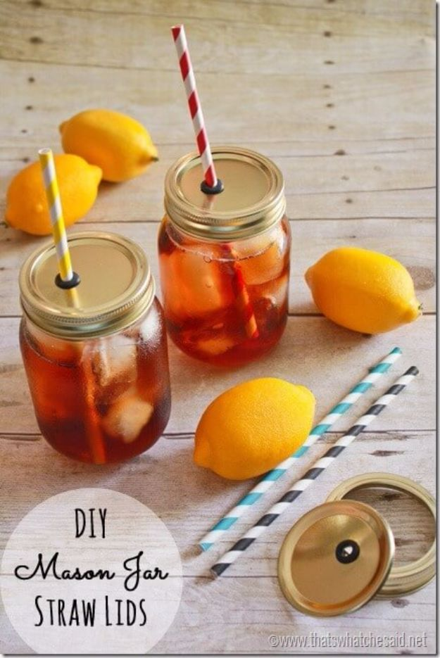 DIY Picnic Ideas - DIY Mason Jar Straw Lids - Cool Recipes and Tips for Picnics and Meals Outdoors - Recipes, Easy Sandwich Wraps, Blankets, Baskets and Carriers to Make for Fun Family Outings and Romantic Date Ideas - Mason Jar Drinks, Snack Holders, Utensil Caddy and Picnic Hacks