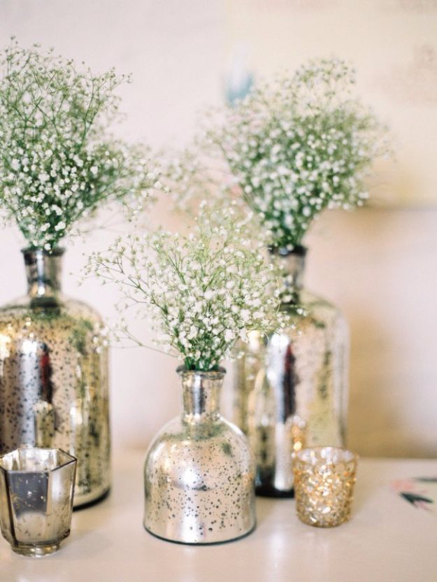 DIY Wedding Centerpieces - DIY Mercury Glass Centerpiece Vases - Do It Yourself Ideas for Brides and Best Centerpiece Ideas for Weddings - Step by Step Tutorials for Making Mason Jars, Rustic Crafts, Flowers, Modern Decor, Vintage and Cheap Ideas for Couples on A Budget Outdoor and Indoor Weddings #diyweddings #weddingcenterpieces #weddingdecorideas
