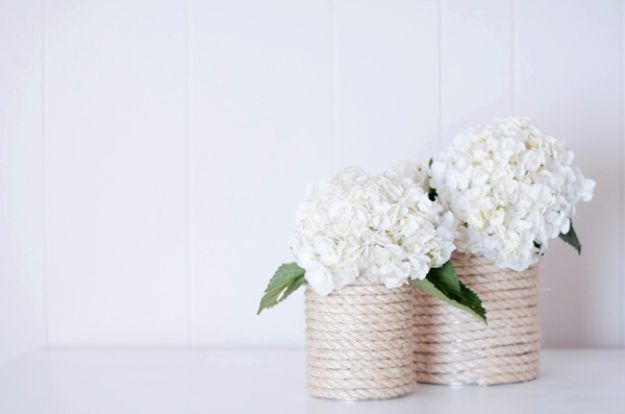DIY Wedding Centerpieces - DIY Nautical Rope Vase - Do It Yourself Ideas for Brides and Best Centerpiece Ideas for Weddings - Step by Step Tutorials for Making Mason Jars, Rustic Crafts, Flowers, Modern Decor, Vintage and Cheap Ideas for Couples on A Budget Outdoor and Indoor Weddings http://diyjoy.com/diy-wedding-centerpieces