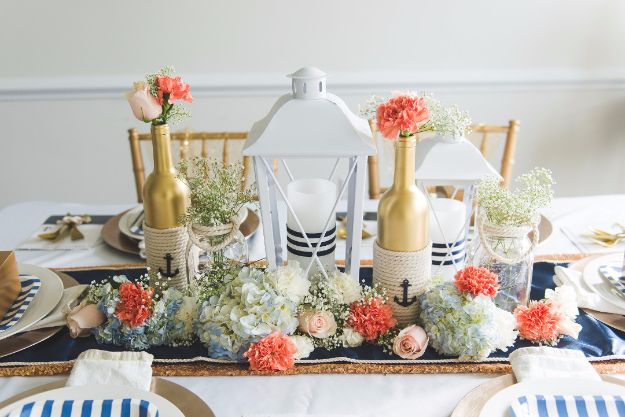 DIY Wedding Centerpieces - DIY Nautical Wedding Centerpiece - Do It Yourself Ideas for Brides and Best Centerpiece Ideas for Weddings - Step by Step Tutorials for Making Mason Jars, Rustic Crafts, Flowers, Modern Decor, Vintage and Cheap Ideas for Couples on A Budget Outdoor and Indoor Weddings http://diyjoy.com/diy-wedding-centerpieces