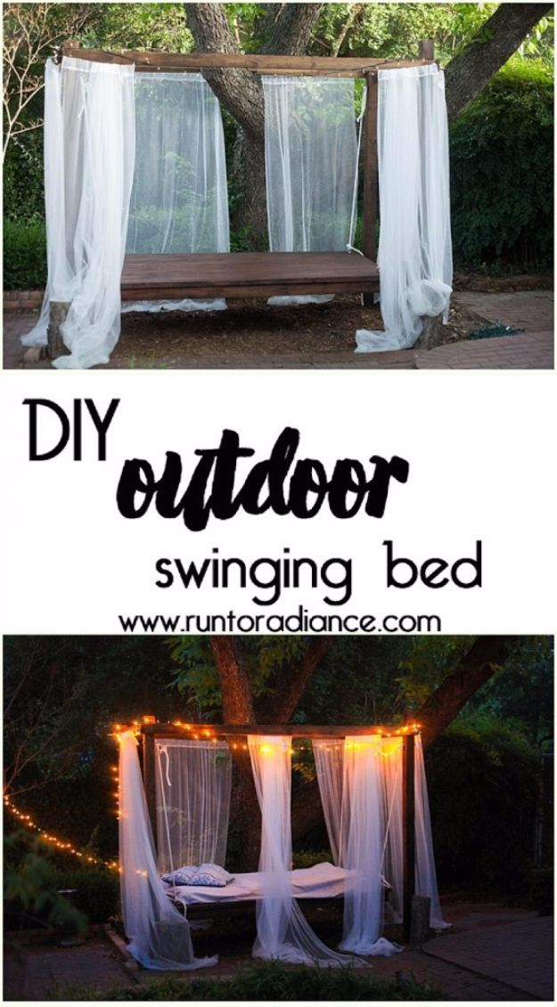 DIY Swings - DIY Outdoor Swinging Bed - Best Do It Yourself Swing Projects and Tutorials for Tire, Rocking, Hanging, Double Seat, Porch, Patio and Yard. Easy Ideas for Kids and Adults - Make The Best Backyard Ever This Summer With These Awesome Seating and Play Ideas for Swings - Creative Home Decor and Crafts by DIY JOY