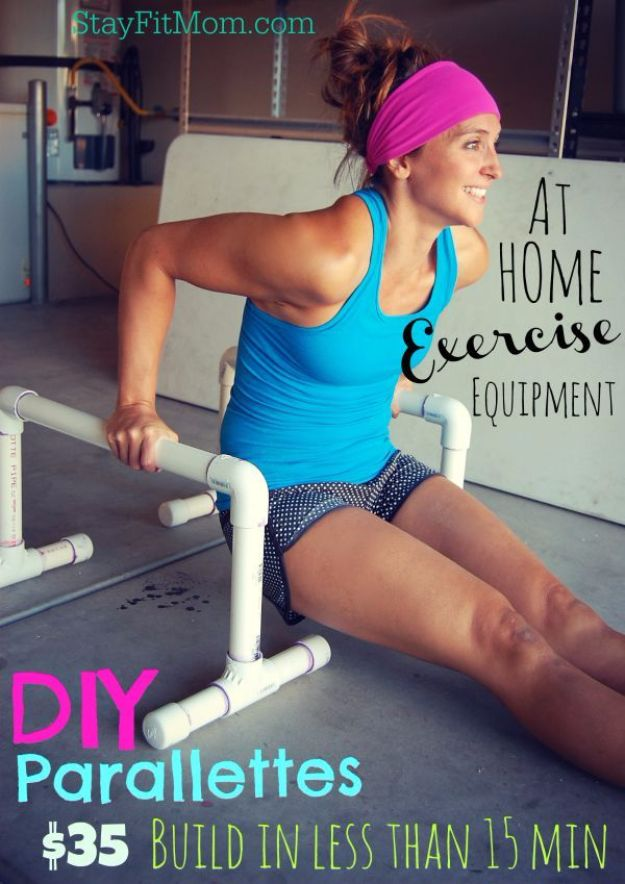 DIY Exercise Equipment Projects - DIY Parallettes - Homemade Weights and Strength Training Projects - How To Build Simple and Easy Fitness Equipment, Yoga Mats, PVC Pipe Ideas for Butt Workouts, Strength Training and Do It Yourself Workouts At Home t