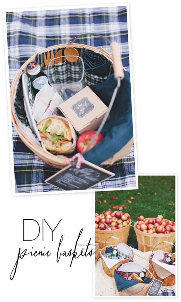 DIY Picnic Ideas - DIY Picnic Basket From Wooden Apple Basket - Cool Recipes and Tips for Picnics and Meals Outdoors - Recipes, Easy Sandwich Wraps, Blankets, Baskets and Carriers to Make for Fun Family Outings and Romantic Date Ideas - Mason Jar Drinks, Snack Holders, Utensil Caddy and Picnic Hacks