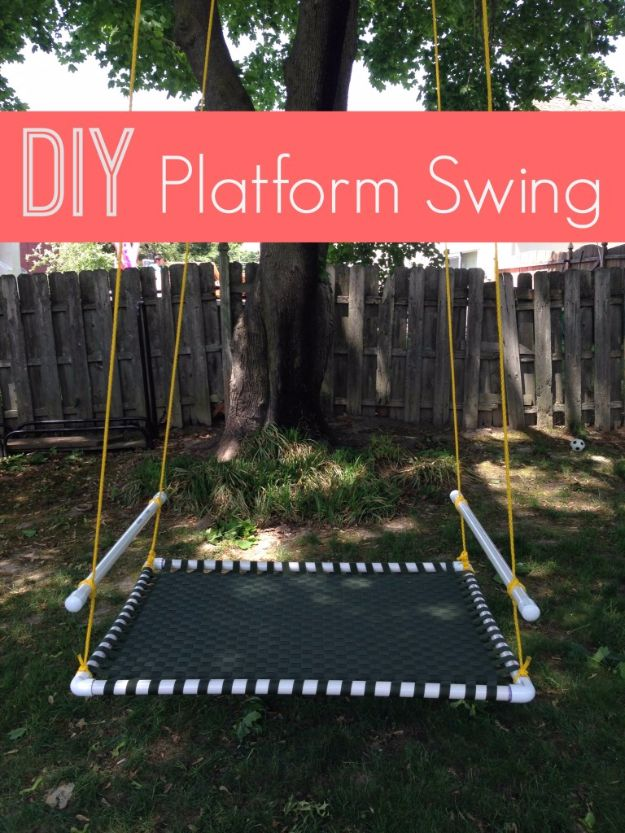 DIY Swings - DIY Platform Swing - Best Do It Yourself Swing Projects and Tutorials for Tire, Rocking, Hanging, Double Seat, Porch, Patio and Yard. Easy Ideas for Kids and Adults - Make The Best Backyard Ever This Summer With These Awesome Seating and Play Ideas for Swings - Creative Home Decor and Crafts by DIY JOY http://diyjoy.com/diy-swings