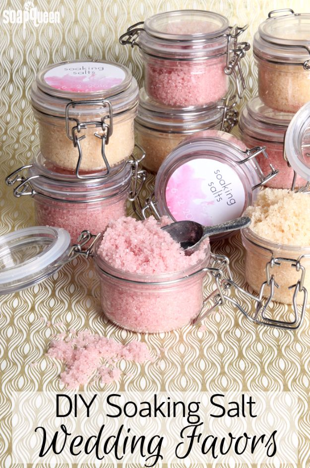 31 brilliantly creative wedding favors you can make for your big day diy wedding favors diy soaking salt scrub wedding favors do it yourself ideas junglespirit Choice Image