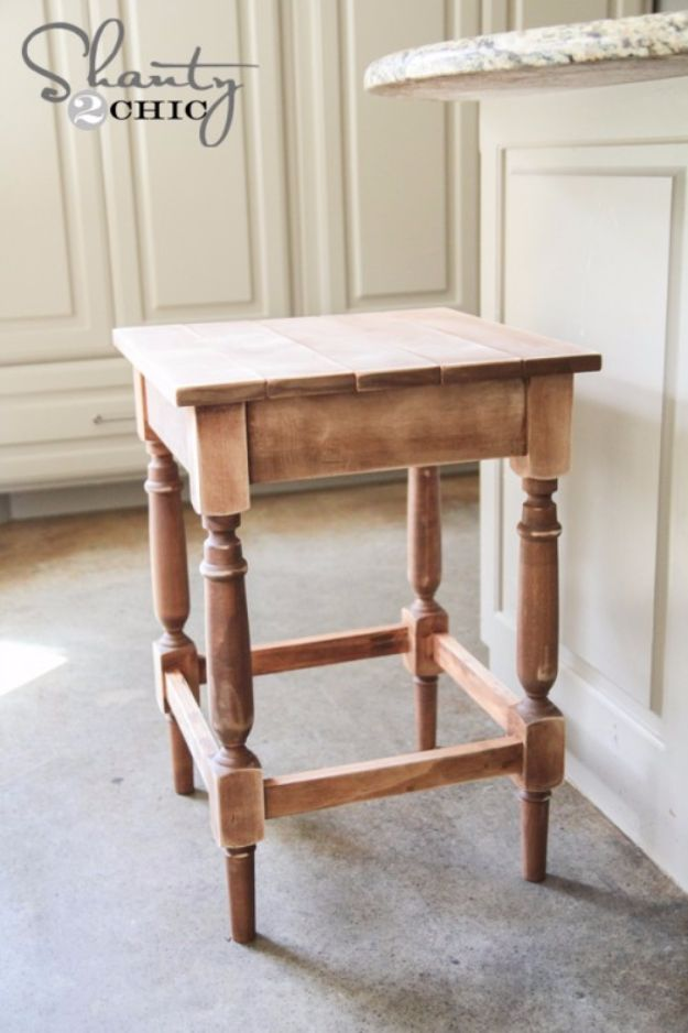diy barstools - DIY Stained Bar Stool - Easy and Cheap Ideas for Seating and Creative Home Decor - Do It Yourself Bar Stools for Modern, Rustic, Farmhouse, Shabby Chic, Industrial and Simple Classic Decor #barstools #diy